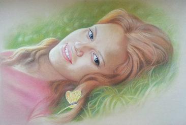 Настоящий портрет пастелью для любимой девушки в Душанбе, просто и со вкусом!