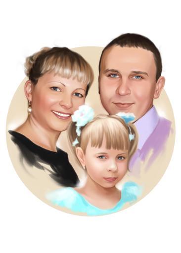 Семейный портрет по фото на холсте в Душанбе — правильный подарок!