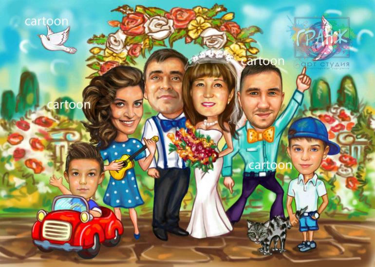 Шарж по фото на годовщину свадьбы на заказ в Душанбе…